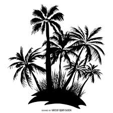 palm trees island silhouette vector