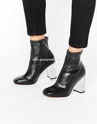 asos eagle clear heel sock boots black womens asos high heels