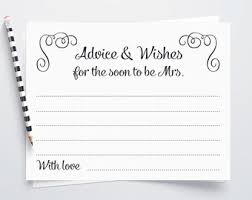 Advice To The Bride Cards Printable Bridal Shower Advice Card Advice For The