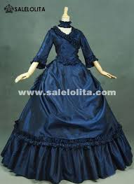 Halloween Victorian Costumes Brand Dark Blue Gothic Victorian Dresses French Bustle Period