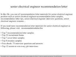 senior electrical engineer recommendation letter