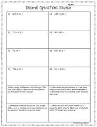decimal operations review worksheet freebie by math with meaning