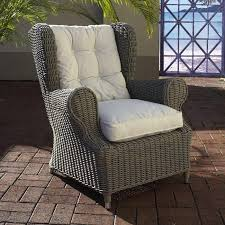 Grey Wicker Patio Furniture by Outdoor Wingback Chair White Fabric Cushion Gray Wicker Dcg