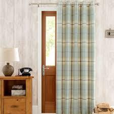 Door Curtains Highland Check Duck Egg Lined Eyelet Door Curtain Dunelm