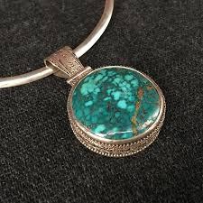 round turquoise necklace images Himalayan round turquoise pendant jewelry mahakala fine arts JPG