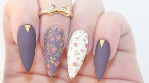how to matte dark floral acrylic nails youtube