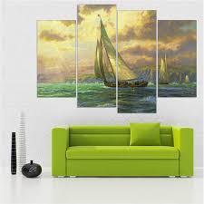 2017 sea drifting boat home decor hd printed modern art painting