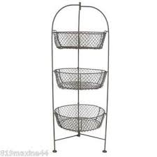 Shabby Chic Wire Baskets by Brown 3 Tier Wire Basket Free Standing Home Or Office Shabby