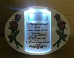 oval grandad memorial plaque led light roses verse for