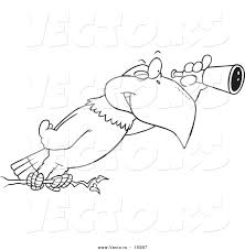 vector of a cartoon eagle using a telescope outlined coloring