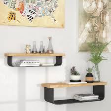 17 stories cosima metal and wood wall 2 floating shelf set