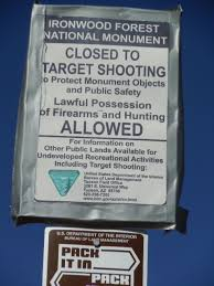 tucson visitors bureau recreational target shooting prohibited at ironwood forest national