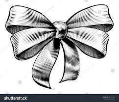 engraved ribbon bow ribbon gift vintage woodcut engraved stock vector 526112242