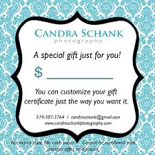 custom gift certificates gift certificates candra schank photography