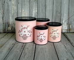 Colorful Kitchen Canisters Sets Vintage Pink Canister Set Black White Floral Decoware Retro Pink