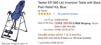 teeter inversion table amazon amazon canada deals save 27 on teeter ltd inversion table with
