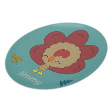 cutest turkey thanksgiving kawaii melamine plate thanksgiving