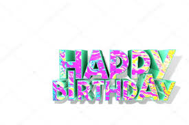 happy green color happy birthday 3d text colorful mottled texture on front side
