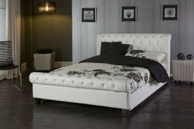 King Size Leather Sleigh Bed Limelight White 6ft Kingsize Faux Leather Bed Frame