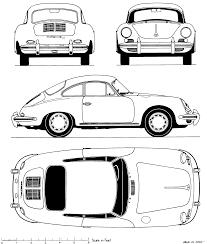 1964 porsche 356c coupe blueprints free outlines