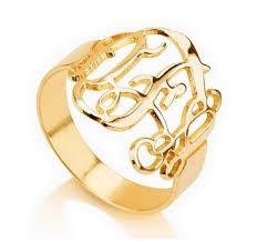 Monogrammed Silver Ring Custom Personalized Interlocking Initial Monogram Ring Silver U0026gold