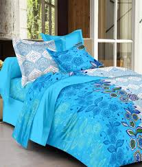 Throw Pillow Covers Online India Ahmedabad Cotton Blue Cotton Floral Double Bedsheet With 2 Pillow