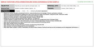 Field Service Engineer Resume Sample by Furniture Upholsterer Resume Sample