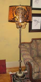 Pottery Barn Arc Lamp by Geena Floor Lamp Brass Glazed Pottery Ceramic Cylinder Base Table