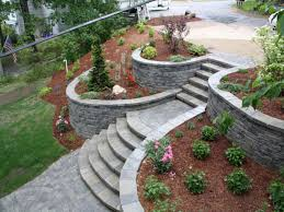 sloping garden landscape designed with stoned steps walkway inside