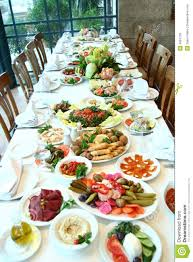 Dining Table With Food Table Of Food Stock Photo Image Of Dishes Avocado 4091728
