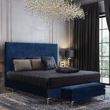 Dynamic Home Decor Braintree Ma Us 02184 Tov Furniture Tov B99 Delilah Queen Bed In Textured Navy Velvet On