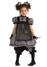 Scary Girls Halloween Costumes Child Gothic Flower Dress 100 Polyester Black White