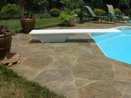 stamped concrete pool deck rock texture with random scribed