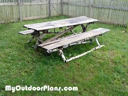 diy log picnic table myoutdoorplans free woodworking plans and