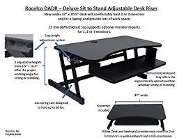Ergonomic Desk Position Amazon Com Rocelco Dadr Premium Height Adjustable Sit Stand Desk