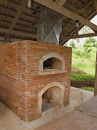 Backyard Brick Pizza Oven Mto Brick Oven With Fireplace Under A Hut
