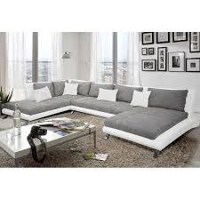 d achant tissu canap canapé d angle en pu blanc et tissu gris duccio 2 angle à gauche