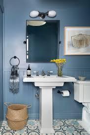 Powder Room With Pedestal Sink New York Double Pedestal Sink Bathroom Craftsman With White
