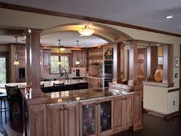 arch with attached kitchen island open shelves kitchen kitchen