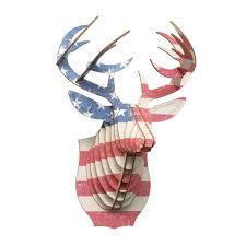deer head buck birch wood u s flag deer head antler home