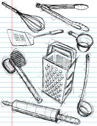 kitchen utensil sketches stock vector freeimages com
