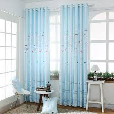 Baby Blue Curtains Baby Blue Polyester Fish Print Bedroom Curtains