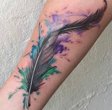 33 watercolor feather tattoos