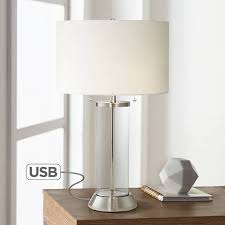 Nightstand Lamp With Usb Port Fritz Glass Column Table Lamp With Usb Port And Utility Plug