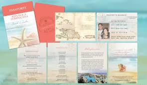 wedding invitations jamaica destination wedding travel passport invitations coral aqua