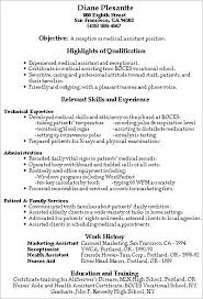 Resume Examples For Medical Office by Resume Examples For Medical Receptionist Free Medical Assistant