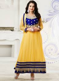 resham embroidery in jaal work makes indian clothing charming amisha patel charming yellow georgette anarkali suit is designed