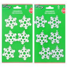 bulk house glittery plastic snowflake ornaments 6 ct