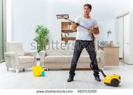 Cleaning House Man Husband Cleaning House Helping Wife Stock Photo 565715200