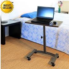 Rolling Table Desk Rolling Casters Table Over Bed Laptop Desk Cart Height Adjustable